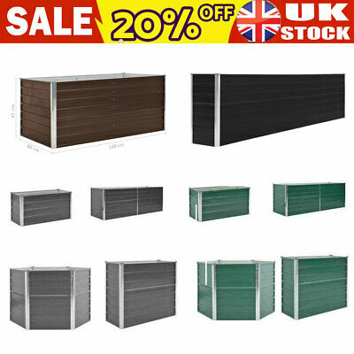 Galvanised Steel Raised Garden Bed Outdoor Yard Planter Pot Box 4 Colors 6 Sizes • 48.29£