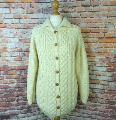 Vintage Chunky Cable Aran Hand Knit Cream Wool Blend Button Cardigan S 10 12 • 25.99£