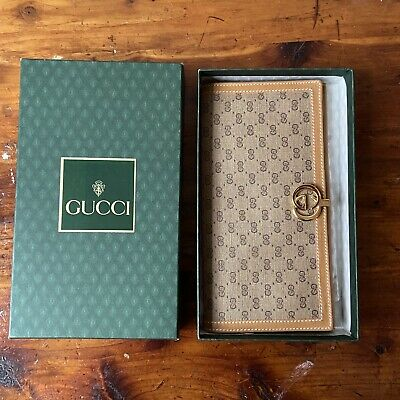 $250 • Buy Vintage GUCCI Wallet - Monogram GG Canvas Leather - Unused In Green Box