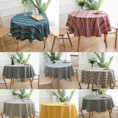 Vintage Round Tablecloth Boho Printed Geometric Table Cloth Covers Cotton Linen • 11.49£