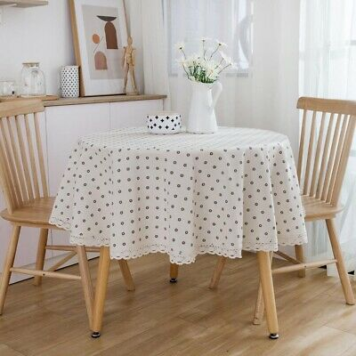 AU20.75 • Buy Cotton Linen Round Tablecloth Table Cloth Dining Party Table Cover Home Decor