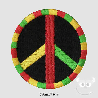 Rasta Peace Patch Embroidered Iron On Sew On Patch Badge For Clothes Etc • 1.99£
