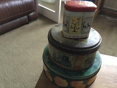 3 Biscuit Tin And Peek Frean, W. & R.Jacob & Ltd,and One Unmarked And contents • 8.99£