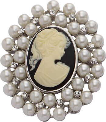 Rhodium Plated Cameo And Faux Pearl Brooch • 3.50£
