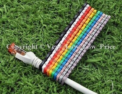 New Cable Markers 100 Colourful C-Type Marker Number Tag Label 4-6mm Cat5 D13 UK • 3.20£