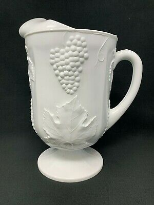 $26.21 • Buy Indiana Colony Milk Glass Opaque White Harvest Grape With Pedestal Pitcher (a26)