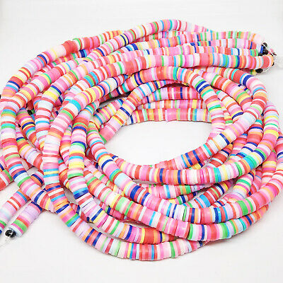 £2.79 • Buy 370+ Colourful 6x1mm Polymer Clay Heishi Flat Disc Coin Beads Boho Hippie  Mix