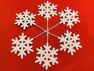 £3.50 • Buy Snowflake Christmas Frozen Cupcake Toppers Cake Decorations - White Glitter (x6)