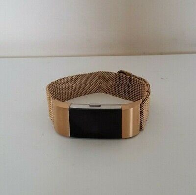 AU64.50 • Buy Fitbit Charge 2 Heart Rate Fitness Activity Tracker Gold Mesh Band *NO CHARGER*