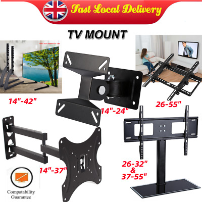 Tilt Swivel TV Wall Mount & Stand Bracket For 14-55 In LCD LED Flat Monitor Size • 8.49£