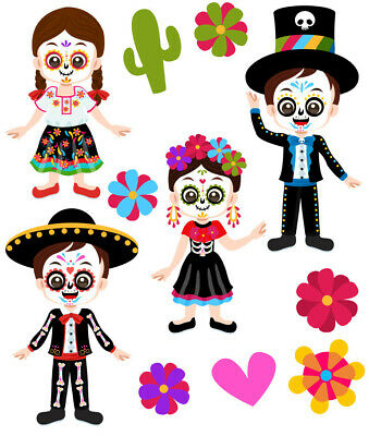 Day Of The Dead Sugar Skull Mexican Wall Stickers - 5 Sizes Available • 7.99£
