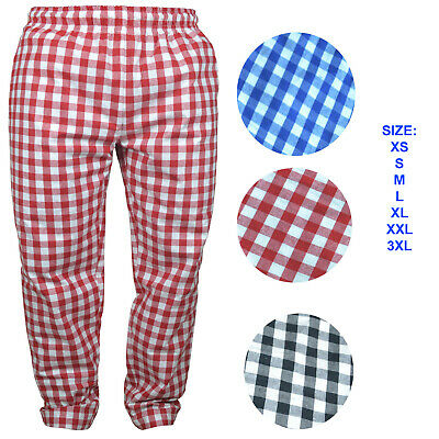 Chef Trousers 100% Cotton Catering Pants Catering Kitchen Trousers LARGE CHECK • 9.99£