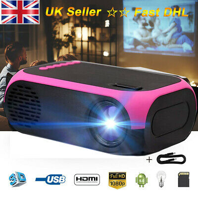 Portable LCD Projector 1080P HD HDMI AV USB Multimedia Player For Smart PC Phone • 35.99£