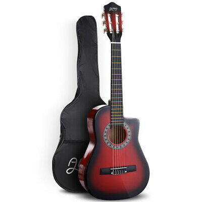 AU46.94 • Buy Alpha 34  Inch Guitar Acoustic Cutaway Wooden Ideal Kids Gift 1/2 Size Red