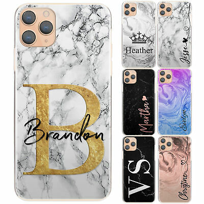 AU11.30 • Buy Personalised Phone Case For IPhone 13/12/11 Initial Grey/Black Marble Hard Cover