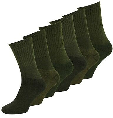 3 / 6 Pack Military Hiking Cotton Blend Work Socks Army Olive  • 5.99£