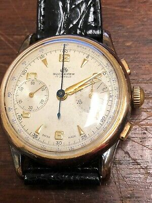 $ CDN1010.31 • Buy Vintage Bucherer Chronograph Gold Plated Mens Wrist Watch Working Great