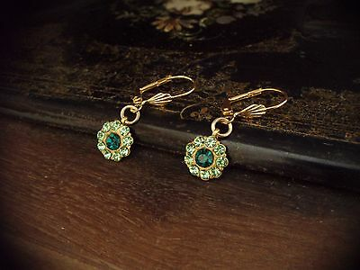Vintage Emerald & Peridot Green Crystal & Gold Leaf Round Drop Pierced Earrings • 19.90£