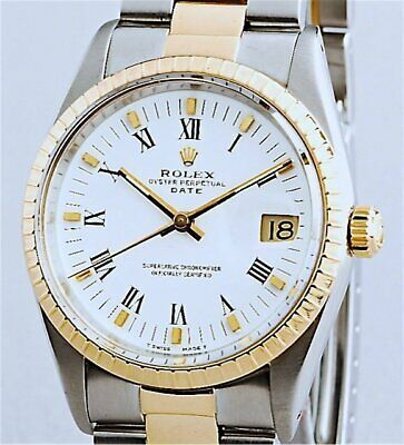 $ CDN6678.78 • Buy Mens Rolex Date 2Tone 18K Gold & Steel Watch Oyster Band White Roman Dial 15223