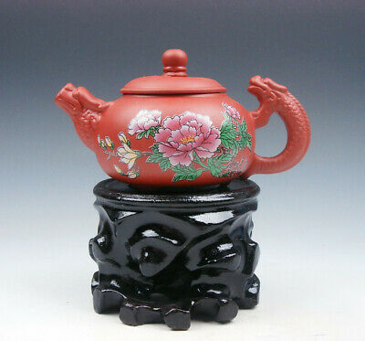 AU65.52 • Buy YiXing Zisha Clay Flower Blossoms Teapot W/ Dragon Spout Handle 175ML FREE STAND