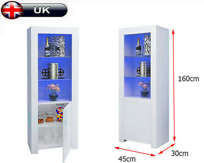 160CM High Gloss RGB LED Cabinet Glass Shelves Display Sideboard Cupboard Unit • 89£