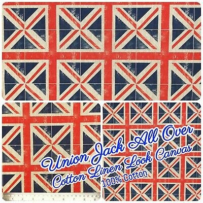 £9.98 • Buy All Over Union Jack Natural Linen-Look 100%Cotton Fabric 140cm 54  Wide Craft