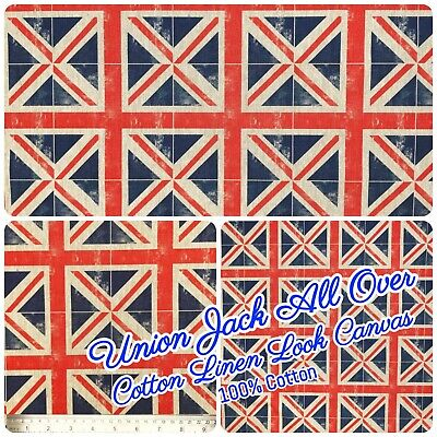 All Over Union Jack Natural Linen-Look 100%Cotton Fabric 140cm 54  Wide Craft • 10.95£
