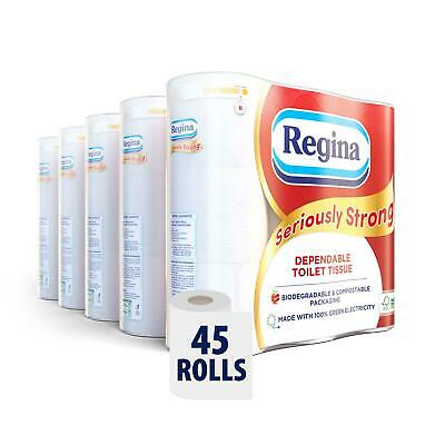 £20.99 • Buy REGINA Seriously Strong 45 Toilet Rolls – 180 Soft 3 Ply Quilted Sheets Per Roll