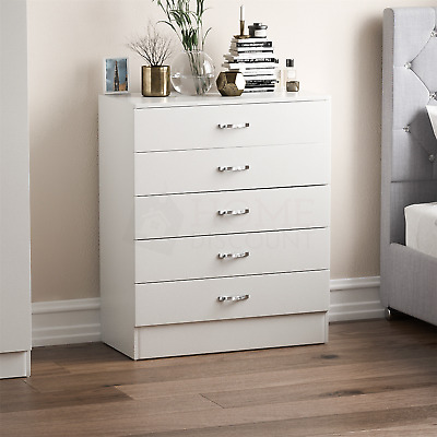 £58.95 • Buy Riano Chest Of Drawers White 5 Drawer Metal Handles Runners Bedroom Furniture