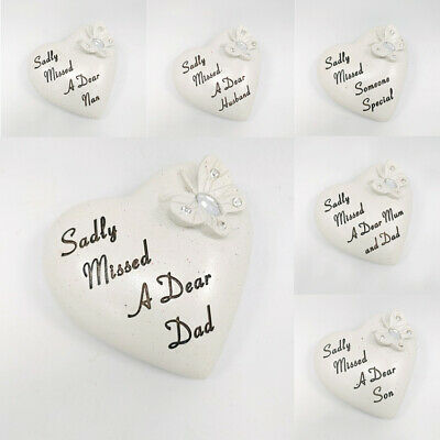 £6.55 • Buy Diamante Butterfly Heart Memorial Stone / Pebble Sadly Missed Grave Tribute 9cm