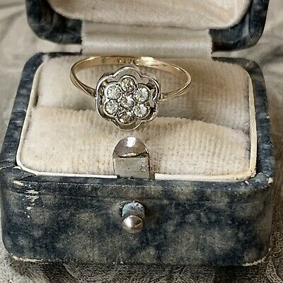 Antique Edwardian Art Deco 9ct Yellow Gold And Silver Paste Diamond Ring UK J1/2 • 149£