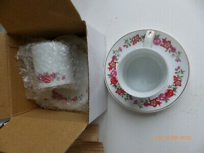6 Vintage 1950s Bone China Red Floral Coffee Cups And Saucers • 3.42£