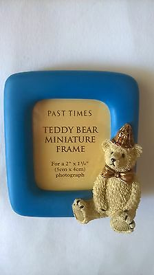 Past Times Miniature Frame Teddy Bear Photo Picture Blue Frame Beige Bear Hat • 14.99£