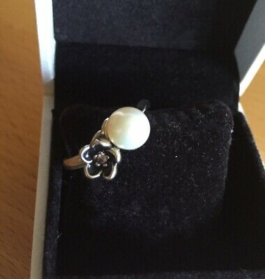 New Genuine Silver Flower Pearl Ring S925 ALE 52 54 56 58 Pandora • 17.50£