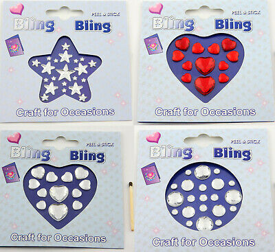 £1.19 • Buy 1 Pack Star, Heart Or Round Self Adhesive Gems*Stick On Crystals*Embellishments
