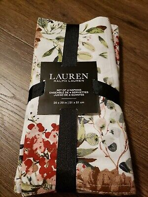 £17.89 • Buy Ralph Lauren Christmas Berry Pinecone Cotton NAPKINS Set Of 4 NWT Holiday