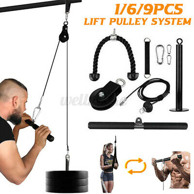9pcs Gym Equipment Cable Tricep Bicep Machine Pulley System Fitness Workout Lift • 48.99£