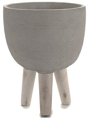 Concrete Raised Plant Pot Planters On Stand With Wooden Feet Rippled Round Grey • 19.99£