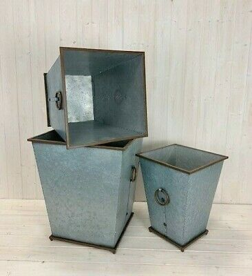Large Square Tall Galvanised Metal Planters Copper Edge Plant Flower Pot Garden • 51.95£