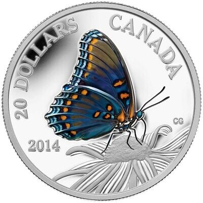 $72.10 • Buy 2014 $20 Fine Silver Coin - Butterflies Of Canada: Red-Spotted Purple