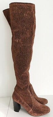 V By Very Women Bronze Lurex Stretch Over The Knee Boots UK 8 EUR 41 New!  • 25£