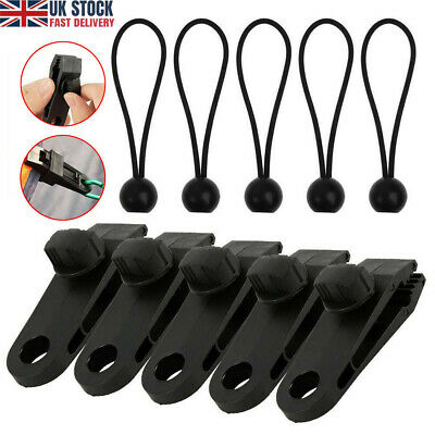 10Pcs Set Tent Tarp Tarpaulin Fasteners Clips Holder Buckle With Bungee Cord UK • 6.49£