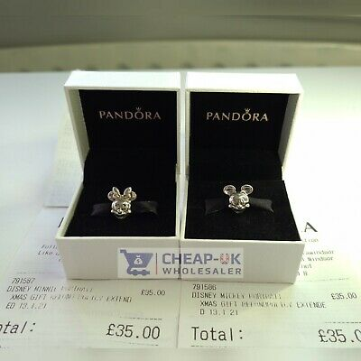 Authentic Minnie + Mickey Mouse Disney Pandora S925 Ale Stamped Charm Bead Gift • 19.99£