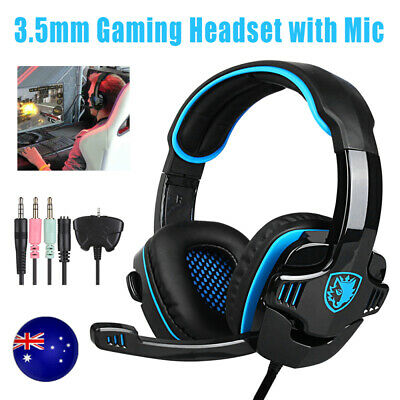 AU28.49 • Buy 3.5mm Gaming Headset Mic Surround Stereo Headphones For PS4 Xbox One PC Laptop