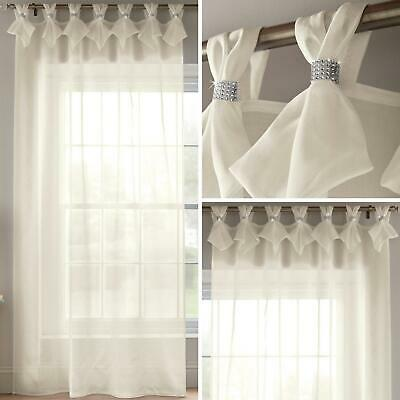 Cream Voile Curtain Diamante Sparkle Tab Top Pleated Panels Bling Sheer Voiles • 19.95£