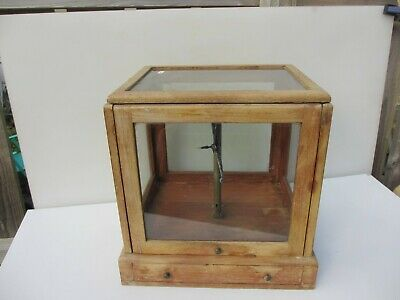 Antique Wooden Display Case Glass Scales Laboratory Case Vintage Drawer Old 15 W • 100£
