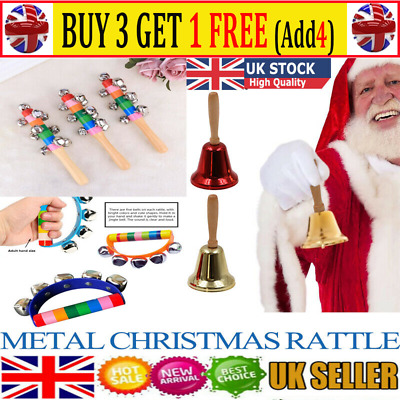 Metal Christmas Hand Bell Xmas New Year Santa Party Celebrate Rattle Bell WS UK • 4.79£