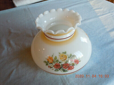 $24 • Buy Vintage Milk Glass Lamp Shade With Floral Design-Fluted Top-Unused