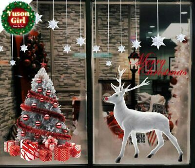 Large Reusable Merry Christmas Tree Reindeer Wall Window Stickers Door Cover • 11.19£