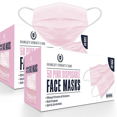£9.99 • Buy Disposable Pink Face Masks Protective 3 Ply Breathable Mouth Cover 2x50, 100 Pcs
